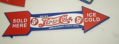 PEPSI COLA BLUE RED & WHITE WOOD ARROW SIGN NEVER DISPLAYED GREAT LOOK