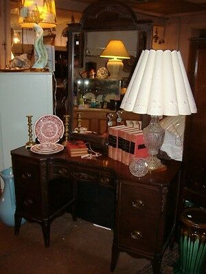 Mahogany Vanity Dresser Vintage Antique Desk Adams Style Mirror
