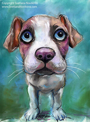 ART PRINT Colorful Bull Terrier dog painting Svetlana Novikova