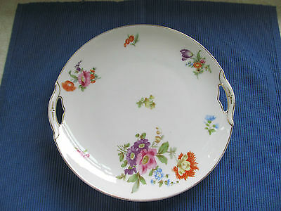 Antique KPM Hand Painted Porcelain Cake Plate GERMANY Floral Pattern