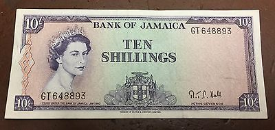 JAMAICA 1960 10 Shillings Note NICE!