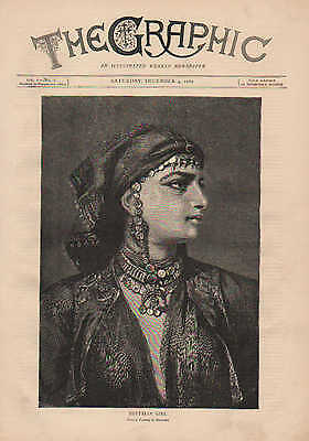 Pretty Lady, Fashion, Egyptian Girl, by Richter, Vintage, 1870 Antique, Print.