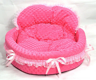 Princess Cute Cozy warm Soft Lace Pet Bed house For Dog Puppy Cat pink set