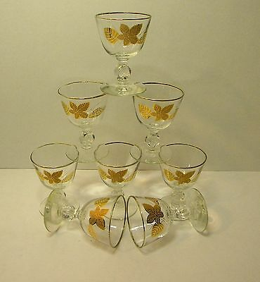 Set of 8 Vintage Libbey Gold Leaves Small Wine Glass