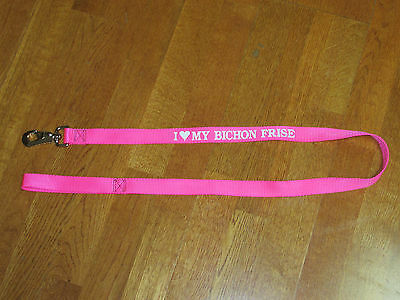 "Bichon Frise Dog Leash Pink 50"" Nwot"