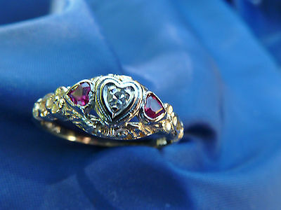 old  SWEETHEART RING- dia./ruby