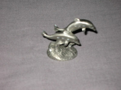 Pewter Dolphins Jumping Waves Collectible Figurine NEW!