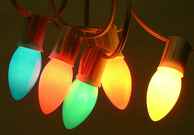 C9 VINTAGE LOOK ASSORTED COLORS WHITE WIRE CHRISTMAS HOLIDAY LIGHTS 26'