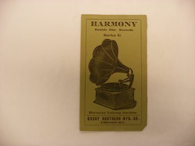 Original Harmony Phonograph Record Catalog - Double Disc Series G