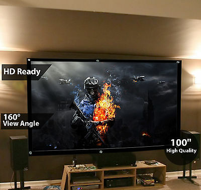 100'' Inch 16:9 Fabric Matte Projector Projection Screen HD Home Cinema Theater