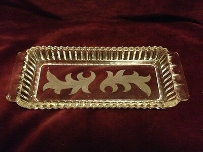 Vintage Pressed Glass Butter Dish or Small Serving Plate Leaf Pattern