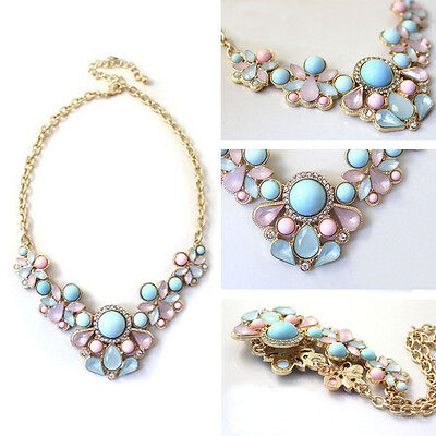 New Arrive Resin Flower Crystal Pendant Choker Chunky Statement Bib Necklace YNM