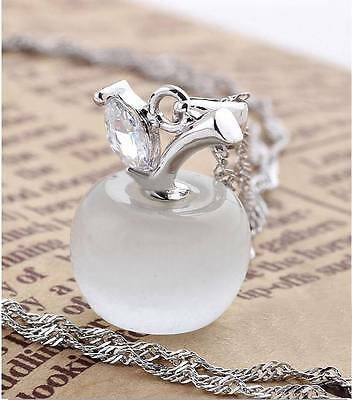Hot White Opal /Cat Eye    925 Sterling Silver Apple Necklace Pendant