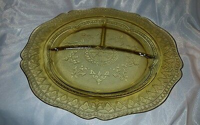 Vintage, Depression Glass, Federal, Grill Plate, Patrician or Spoke, Amber