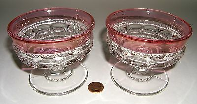Two Cranberry Flashed Kings Crown SHERBETS Enlongated prints Indiana, Tiffin or?
