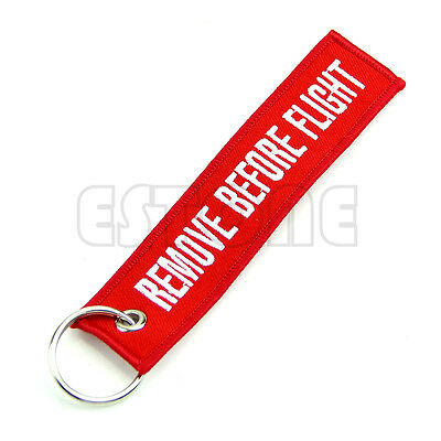 Remove Before Flight Key Chain Luggage Tag Zipper Pull Woven Embroidery Keychain