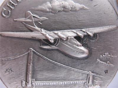 1+Oz. Longines .925 Sterling Silver 1935 China Clipper 3D High Relief Coin+Gold