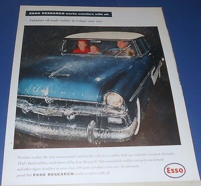 1956 ESSO Research works wonders w/oil PLYMOUTH car in rain Ad