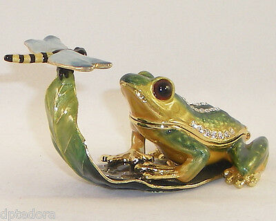 FRISKY FROG  PEWTER BEJEWELED HINGED TRINKET / JEWELRY  BOX
