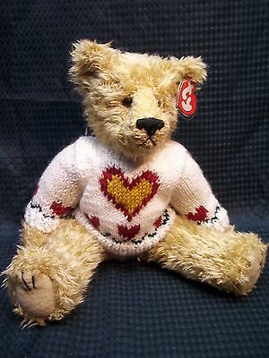 "Large TY Attic Collection 12"" Jointed Bear with Heart Sweater  ** HEARTLEY **"