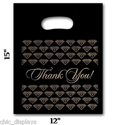 """LOT OF 100 DIE CUT PLASTIC BAGS JEWELRY BAGS SHOPPING Thank You BAGS 12""""x15"""" Lg"""