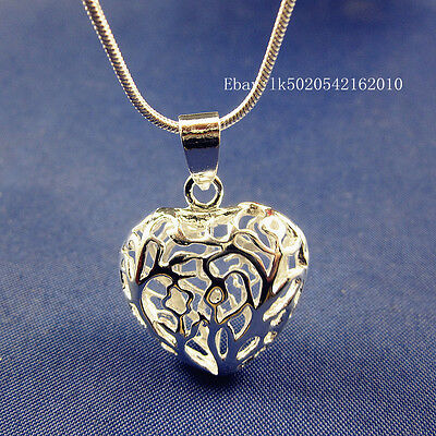 """925 Sterling Silver Plated 3D Hollow Out Heart Pendant Snake Chain Necklace 24"""""""