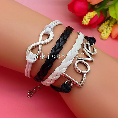 Fashion Alloy Infinity love Gold/Silver Braided Leather Cute Charm Bracelet 151C