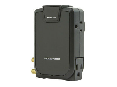 Monoprice 10531 3 Outlet Wall-Mount Surge Protector w/ Coax Protection