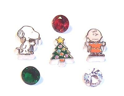 CHARLIE BROWN CHRISTMAS TREE,SNOOPY Floating Charms & 3 ORIGAMI OWL Crystals