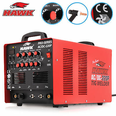 HAWK SINGLE 1 PHASE 220v 220A ACDC MMA TIG ARC PULSE HF INVERTER WELDING WELDER