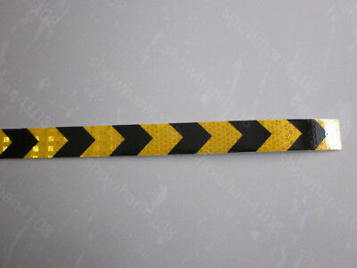 """Yellow and black Safety Arrow Reflective Caution Warning Tape Sticker 1"""" Width"""