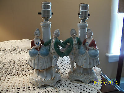 Antique Pair Victorian Couple Bedroom End Table Lamps Occupied Japan