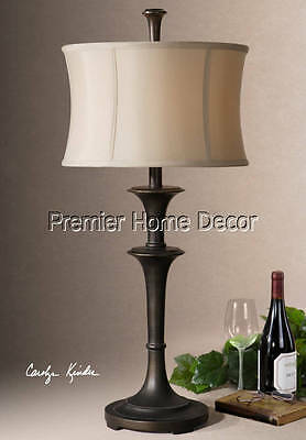 Old World Tuscan Table Lamp Oil Rubbed Bronze Finish Round Drum Shade