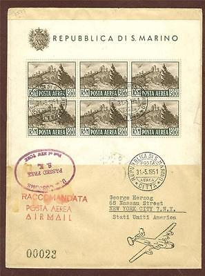 San Marino Sc.C78a Sass. F12  airmail sheet of six on R-cover to US!