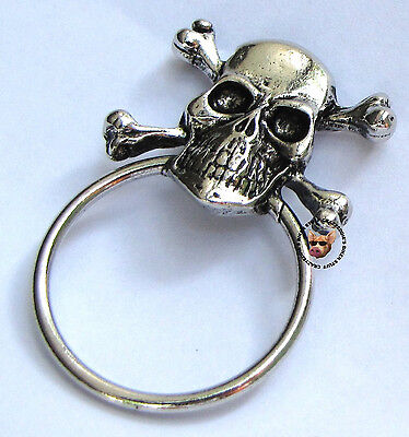 SKULL AND CROSS BONES PIN WITH SUNGLASS HOLDER ** MADE IN USA **