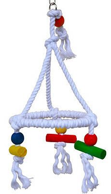 ROPE TRI TOY SWING parrot cage toys cages parakeet love bird conure cockatiel