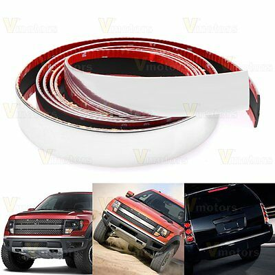 """100"""" 30mm Chrome Front Rear Bumper Overlay Molding Trim + 3M Adhesive Add-on Kit"""