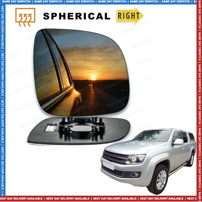 Passenger side Clip heated Convex wing mirror glass for VW Amarok 10-17