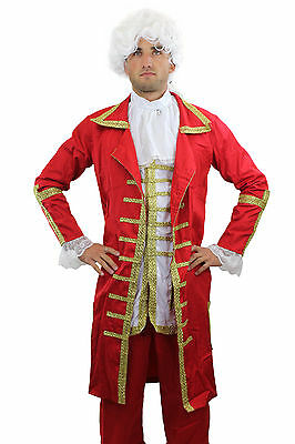 Red Baron: High Quality Costume Men's Suit Baroque Mozart Noble Man Size. 56, XL