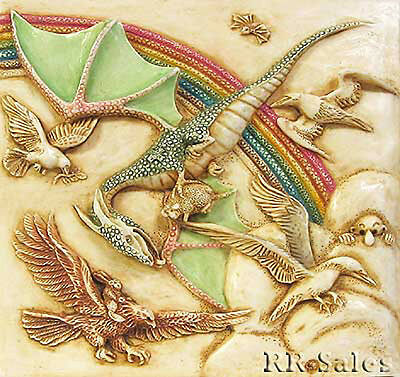 Flying Dragon Rainbow Deco Tile Harmony Kingdom Noahs Park Picturesque Whirligig