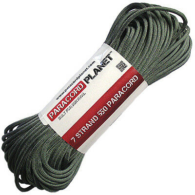 Foliage Green 550 Paracord Mil Spec Type III 7 Strand Parachute Cord 100 ft