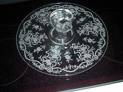 """Fostoria Romance Etched Crystal Clear 11 1/2"""" Center Handled Tray EXCELLENT"""