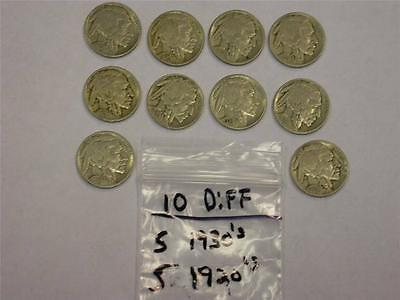 (10 COINS) (5) 1920's (5) 1930's BUFFALO NICKEL LOT -GREAT GIFT- MK2
