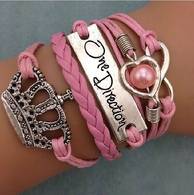 Retro Infinity Imperial crown Pearl Heart Leather Bracelet plated Silver SS20