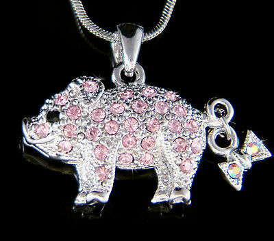 ~Pink Pig made with Swarovski crystal Piggy Piglet Lover Charm Necklace New Cute