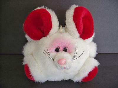 """Vtg Plush MOUSE Luvables 6"""" Red & White Stuffed Animal Round """"Ball"""" Toy"""