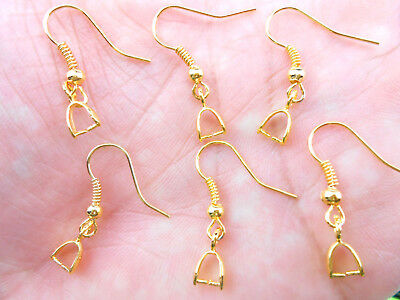 Wholesale 50PCS Findings 18K Gold Plated French Earring Hook Pinch Bail Ear Wire