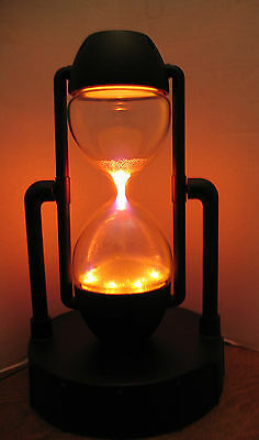 STAR SHOWERS Glowing PLASMA REVOLVING HOURGLASS LAMP~ Black ~EXCELLENT CONDITION