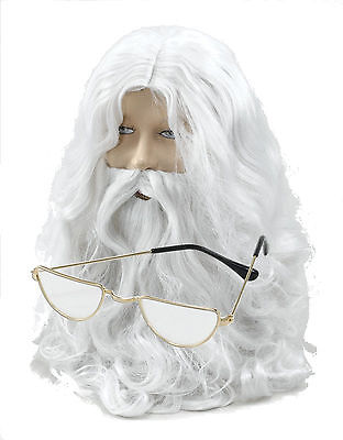 Santa Claus Father Christmas Wig, Beard, Moustache, Half Moon Glasses Costume