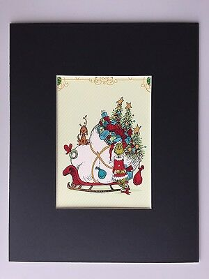 GRINCH & MAX~8 x 10 Mat Print~WHOVILLE GIFTS~Sleigh Full of Gifts~A BIG HEART